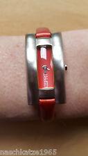 ESPRIT Damen Armbanduhr, Lederband rot, TOP Zustand, Water Resistant