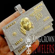 ICED OUT CUSTOM PIECE BIG XXL CASH $100 BILLS MONEY PENDANT WHITE LAB DIAMONDS