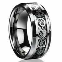 New 2019 Mens Silver Dragon Titanium Stainless Steel Wedding Band Rings