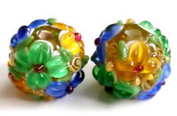10pcs handmade Lampwork glass round Beads green blue yellow flower 14mm
