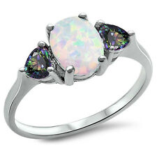 Fashion Promise Ring 3-Stone Oval Created Opal Heart CZ Sterling Choose Color