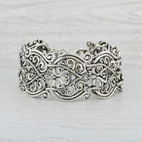 Carolyn Pollack Relios Statement Bracelet Sterling Silver 925 Openwork Ornate