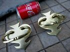 Vintage Unused  Old Stock  Pair Brass Handles   Covers For Trunk Wooden Chest