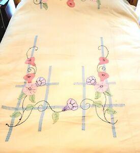Vtg Handmade Morning Glory Trellis Applique Bedspread Coverlet Summer Quilt 30's