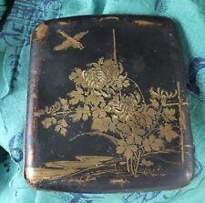 Antique Japanese cigarette case noir laque éléphant Mark Komai Damascène