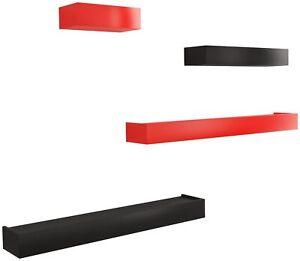 Home Sparkle Floating Shelves Set Of 4 (Black And Red)-MCV