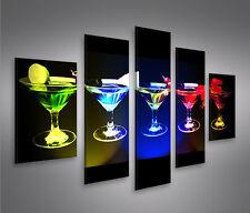 Funky Cocktails MF 5 Bilder auf Leinwand Bild Wandbild Poster Kunstdruck