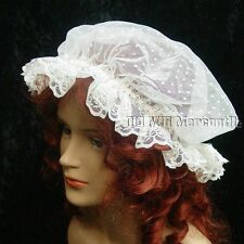 Regency Victorian LACE Day Cap mop mob cap Civil War day cap offwhite