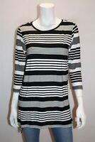 ELM Brand Black White Striped Gradient Tee Size 10 BNWT #SF49