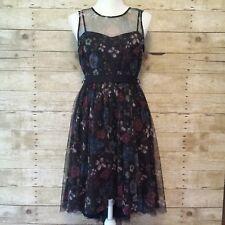 Womens 8 LC Lauren Conrad Disney Snow White Collection Hi Low Dress Black Floral