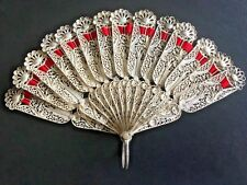 19TH CENTURY CHINA CHINESE SOLID SILVER FILIGREE FAN 古董银丝扇