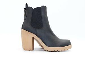 Women's VOX Pull On Platform Black Faux Leather Ankle Boots Chelsea UK3 EUR36