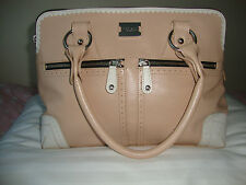 MODALU PIPPA LEATHER HANDBAG IN NUDE WITH BROGUE DETAIL IN WHITE  -  USED