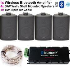 AMPLIFICATORE Wireless Bluetooth & 4x 60W KIT ALTOPARLANTI A Muro Angolo – sistema HiFi Amp