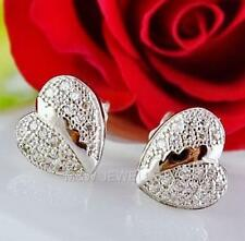 925 STERLING SILVER RHODIUM PLATED EARRINGS STUD HEART WITH ZIRCONIA