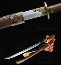 37' ROSEWOOD DAMASCUS FOLDED STEEL BLADE HAND MADE CHINESE SWORD 清刀 QING DAO