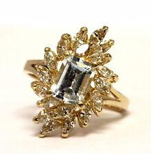 14k yellow gold 1.26ct marquise diamond Natural aquamarine gemstone ring 4.8g