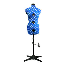 Adjustable 8-Part Dressmaking Dummy UK 10-16 Duck Egg Blue Polka Dot Adjustoform