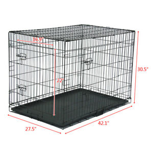 "42"" Pet Kennel Cat Dog Folding Steel Crate Animal Playpen Wire Metal New"