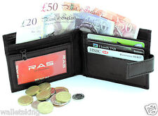 MENS REAL LEATHER SLIM WALLET WITH CREDIT CARD, ID, ZIP COIN POCKET PURSE - 421