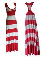 Royal DIGS Pink/White Silky Jersey Full Length Tent Maxi Dress szM Summer/Beach