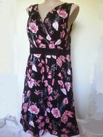 Autograph Black RED floral COTTON elastane cross front dinner party Dress 24 NEW