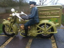 Green Parcel Post Hubley Harley Davidson Motorcycle POSTMAN All Cast Iron