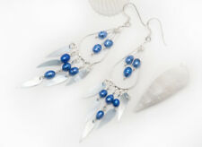 NEW Dangler Earrings Solid 925 Sterling Silver with denim blue pearls and shell