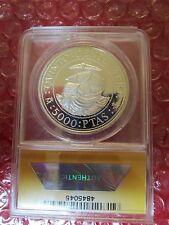 Spain 1989 Santa Maria 5000 Pesetas 1.6oz .925 Silver Coin Discovery of America