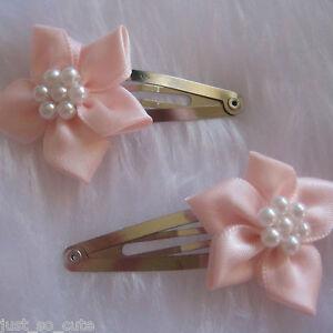 girls hair clips snap clips slides bendies flower hair clip pink flowers