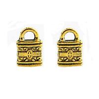 30PC Gold Plated Little Lock Zinc Alloy Charm Pendant 12*8mm Wholesale