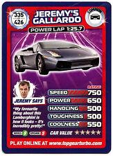 Jeremy's Gallardo #335 Top Gear Turbo Challenge Trade Card (C362)