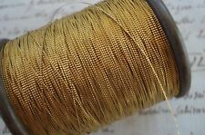 3y VTG FRENCH GOLD STAMPED METAL METALLIC EMBROIDERY THREAD ANTIQUE TRIM RIBBON