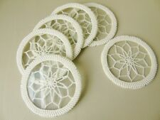 Vintage Crochet Covered Glass Coasters- Set Of Six