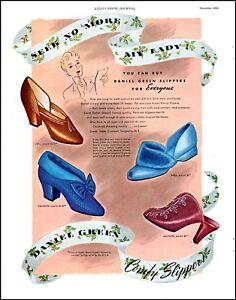 1943 Daniel Green ladies comfy slippers for everyone vintage art Print Ad adL38