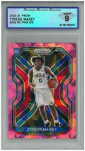 2020-21 Prizm TYRESE MAXEY #256 RC Rookie Pink Ice 💎 DSG 9 Mint