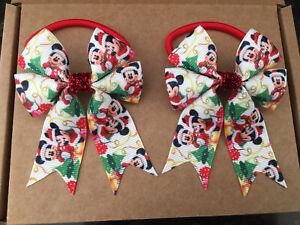 Christmas Mouse - hair bow bobbles (2) HANDMADE girls hair accessories