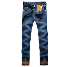 Classical Men's Winter Fleece Lined Jeans Stretch Straight Denim Pants Trousers