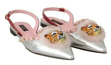 DOLCE & GABBANA Shoes Silver Pink Leather Tiger Fur Snake EU36 / US5.5