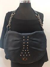 Bodhi Designer Vintage Retro Grey Leather Shoulder Handbag Bag Silver Chain