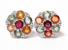 4.71Ct Round Cut MultiColored Sapphire & Diamond Cluster Earrings 14k White Gold