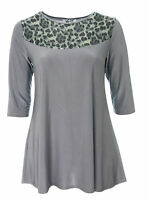 Womens Sexy Lace Shoulder Detail Stretch Silver Grey Tunic Dress / Long Top