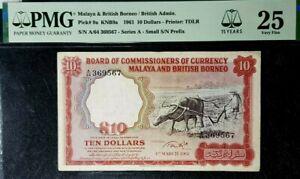 PMG 25 VF 1961 MALAYA & BRITISH BORNEO 10 Dollars B/Note(+FREE1 B/note)#17107