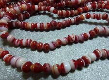 4mm red&white swirled hand spun glass beads, 10 strands 100+ bds/st, NOS BIN331