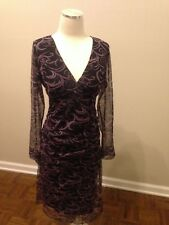 MaMe Maternity Black Purple Swirl Sheer Overlay Dress Ruched Shirred S Stretch