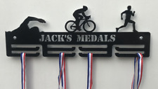 Personalised 2Tier TRIATHLON Medal Hanger, Holder, Strong 5mm Acrylic,Ideal Gift