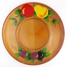 Vintage Large Painted Wood Fruit Platter Serving Tray Pear Apple Grape