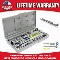 "40Pcs Standard SAE Metric Socket 1/4'' & 3/8"" Drive Ratchet Wrench Repair Set"