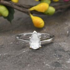 14k White Gold Estate White Spinel Solitaire Ring Size 6