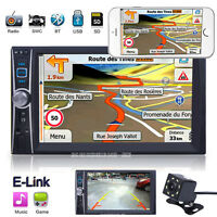 7'' Double 2 DIN Car Stereo GPS IN Dash E Link USB AUX MP5 Player W/ Camera Kit